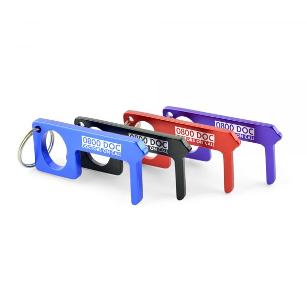 Coloured aluminium hands free door aid. With iron split ring attachment. (3.3cm distance between the handle and the door connector)