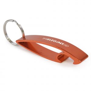 Durable metal bottle opener, incudes a silver split ring attachment.