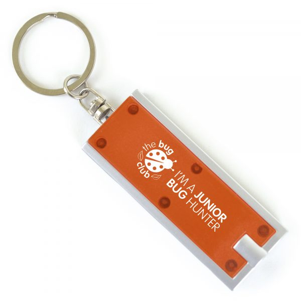 Flat plastic single LED keyring torch. Available in various colours. Batteries included.