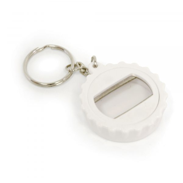 Plastic bottle opener keyring in the style of a bottle lid. Available in blue, purple and white