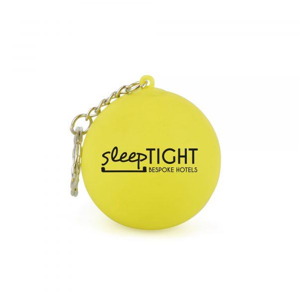 47mm dia. Stress ball toy keyring with latex outer and dense syrup inner - not your average stress material! Available in yellow