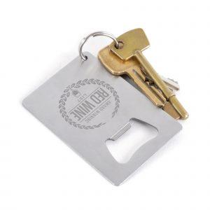 Brushed metal credit card shaped bottle opener.