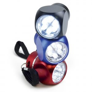 High powered metal 6 LED torch in a compact cube design. Batteries included.