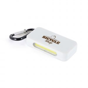White plastic 5 COB LED light with reflective side and carabiner attachment. 2 light settings; flashing or constant.
