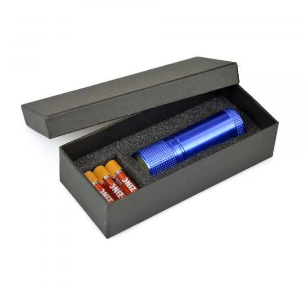 COB LED aluminium torch with black wrist strap and push-button activation. Batteries included. Available in 4 colours.