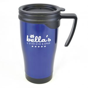 450ml double walled, coloured stainless steel travel mug with PP plastic interior, black push on lid, black handle. BPA & PVC free.