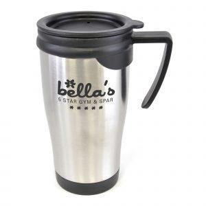 450ml double walled, stainless steel travel mug with PP plastic interior, black push on lid, black handle and black trim on base of mug. BPA & PVC free.