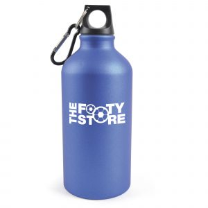 500ml single walled, matt frosted effect aluminium sports bottle with a black PP plastic screw cap and black carabineer clip. BPA & PVC free.