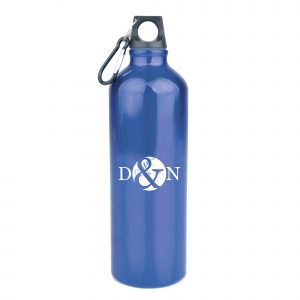 1 litre single walled, glossy aluminium sports bottle with a black PP plastic screw cap and black carabiner clip. BPA & PVC free.