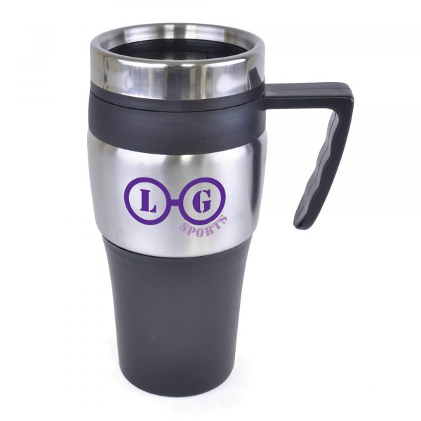 375ml double walled, stainless steel travel mug with PP plastic interior, screw on lid and slide cover. BPA & PVC free