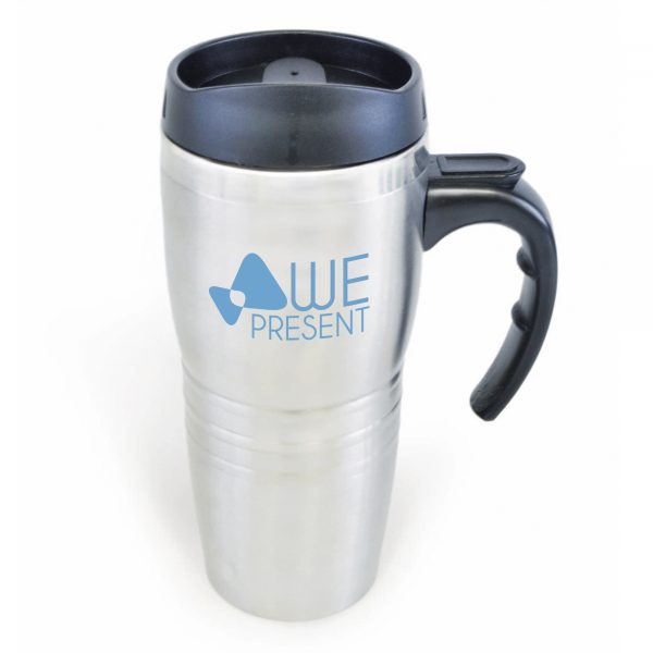 475ml double walled, stainless steel travel mug with stainless steel interior, black push on lid and black handle. BPA & PVC free.