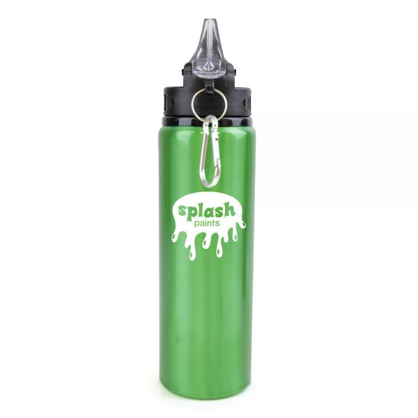800ml single walled, aluminium drinks bottle with a PP and PS plastic lid. Features include a large fold out sipper with straw and black carabiner clip. BPA & PVC free. Available in various colours.