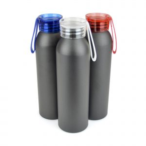 600ml single walled, aluminium sports bottle with a coloured AS plastic screw top lid and silicone strap. BPA & PVC free.