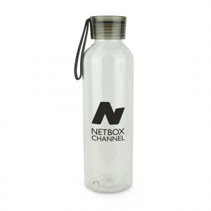 600ml single walled Tritan plastic sports bottle with coloured screw top PS lid and silicone carry strap. BPA & PVC free. Available in translucent with black, blue and red trim.