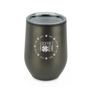 350ml double walled stainless steel travel mug with PP plastic inner in a sleek tumbler style. Features include a clear AS push on lid with sipper. BPA & PVC free. Available in gun metal.
