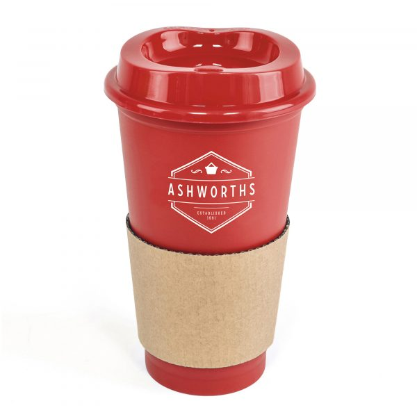 500ml single walled PP plastic take out style coffee mug. Coloured lid matches the mug and it comes with a brown cardboard sleeve for grip and protection when holding. BPA & PVC free.