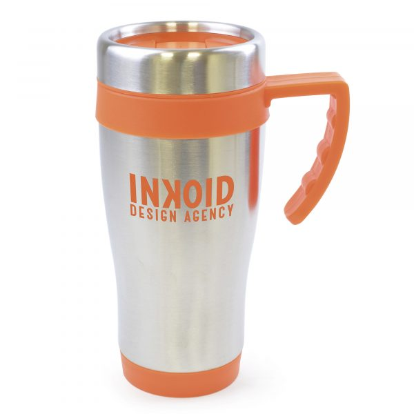 450ml double walled, stainless steel travel mug with PP plastic interior. Includes coloured base, handle, top band and lid with secure sliding sipper. BPA & PVC free.