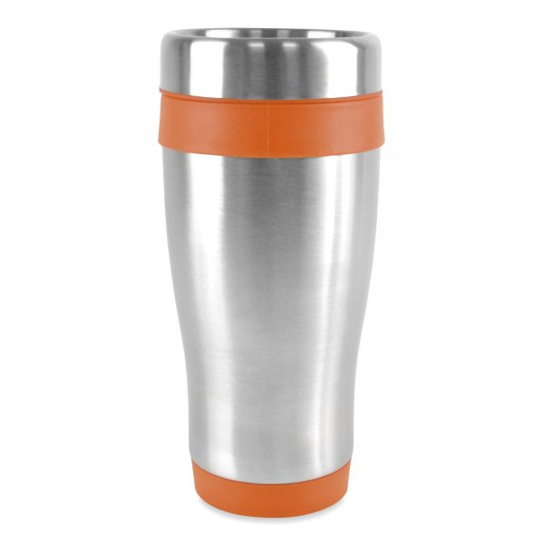 450ml double walled, stainless steel tumbler with PP plastic interior, coloured base, top and lid. Screw top lid with secure slide sipper. BPA & PVC free