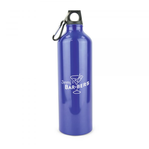 750ml single walled glossy aluminium drinks bottle with black screw on PP plastic lid and black carabiner. BPA & PVC free. Available in 4 colours.