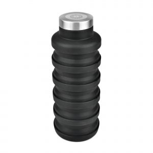 550ml single walled collapsible coloured silicone drinks bottle with stainless steel screw top lid. BPA & PVC free. Available in black