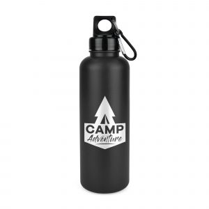 750ml single walled coloured HDPE plastic drinks bottle with PP plastic lid and black carabiner. BPA & PVC free. Available in 4 colours.