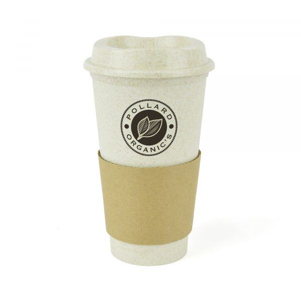 500ml single walled take out style mug made from 25% bamboo and 75% PP plastic. Features include secure lid, sipper and brown cardboard sleeve. BPA, PVC & Melamine free. Available in natural.