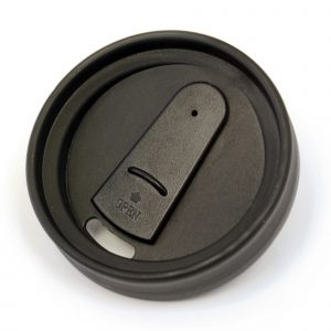 400ml double walled, AS plastic translucent travel mug with black PP plastic inner screw on lid and black sip cover. BPA & PVC free.