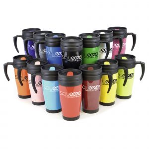 400ml double walled, solid AS plastic coloured travel mug with black PP plastic inner, screw on lid and matching coloured sip cover. BPA & PVC free.