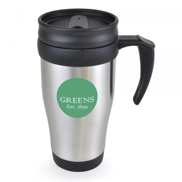 400ml double walled, stainless steel travel mug with black PP plastic interior, screw on lid and slide cover. BPA & PVC free.