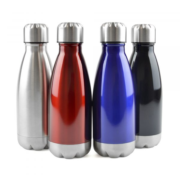 500ml single walled, stainless steel drinks bottle with silver screw on lid, silver base and coloured body. BPA & PVC free