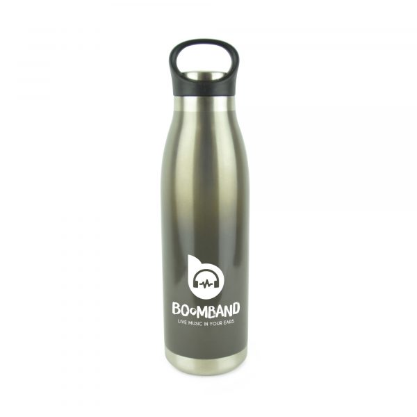 470ml double walled stainless steel drinks bottle with coloured gradient effect. Features include black carry loop, screw top PP plastic lid and silver base. BPA & PVC free. Available in black, blue and red.