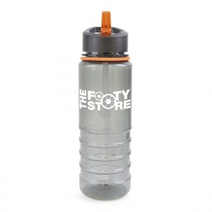 800ml single walled, transparent black, Tritan plastic drinks bottle with black lid, clear straw, coloured band and coloured fold down sip mouth piece (PP plastic Lid, AS plastic sipper and PR plastic straw).