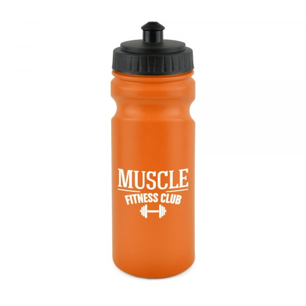 600ml single walled coloured HDPE plastic sports bottle with black push/pull screw top PP plastic lid and finger groove design. BPA & PVC free. Available in 9 colours