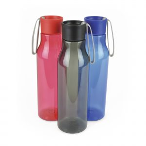 600ml single walled, translucent coloured, PET plastic bottle with white silicone strap attached to secure screw top, PP Plastic lid. BPA & PVC free.