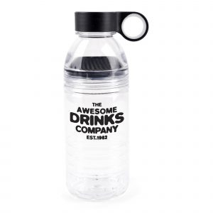 600ml single walled, translucent, Tritan plastic sports bottle with fruit guard to enjoy flavour infused beverages. The secure screw on lid (PP Plastic and TPR) has an easy grip carry handle with coloured band and coloured fruit guard. BPA & PVC Free