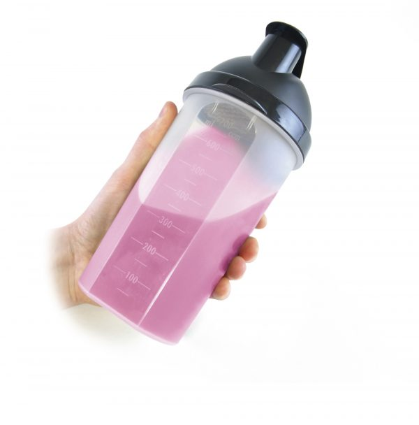 600ml single walled, PP plastic protein shaker. Includes mixer ball (TPE) and grill. BPA & PVC free.