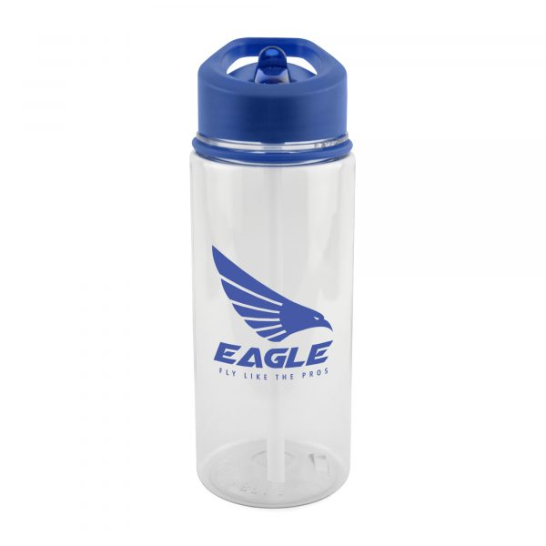 550ml single walled Tritan plastic transparent drinks bottle with clear PR plastic straw, fold down AS plastic sip mouth piece, coloured PP lid, decorative grip band and secure screw top lid. BPA & PVC free. Available in red, white and blue.