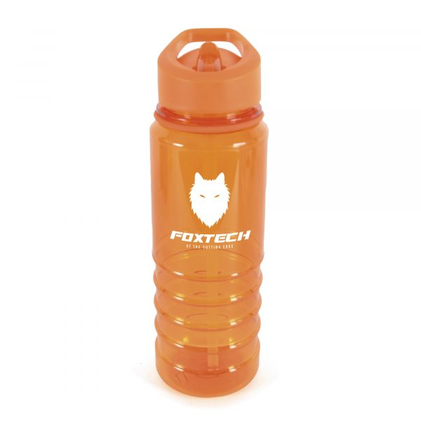 800ml single walled, translucent coloured, Tritan plastic drinks bottle, with coloured lid, straw, coloured band and coloured sip mouth piece. BPA & PVC free
