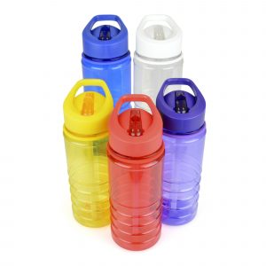 550ml single walled, translucent coloured, Tritan plastic drinks with fold-down drinking straw piece built-in and ridged bottom half for grip. BPA & PVC free.