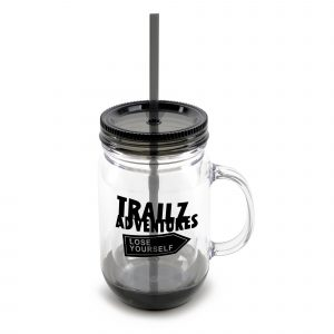 550ml double walled, PS plastic jar with handle, coloured screw top lid, straw and coloured band around the base. BPA & PVC free.