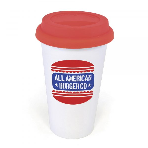 375ml double walled, AS plastic white plastic take out style coffee mug with silicon lid. BPA & PVC free.
