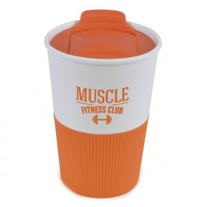 330ml single walled, PP plastic tumbler with matching plastic slider lid and coloured rubber grip (TPR). BPA & PVC free.