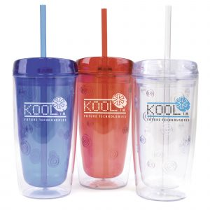 450ml double walled, AS plastic tumbler with matching coloured straw. Not suitable for hot drinks. Tumbler has coloured inner with circle pattern detailing and a translucent outer. BPA & PVC free