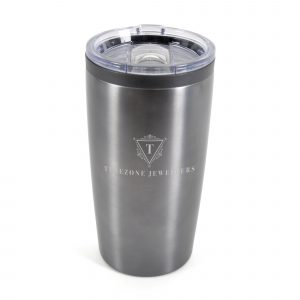 550ml double walled, stainless steel tumbler with black PP plastic inner. Clear plastic push on lid with sliding sipper for easy drinking on the go. BPA & PVC free.