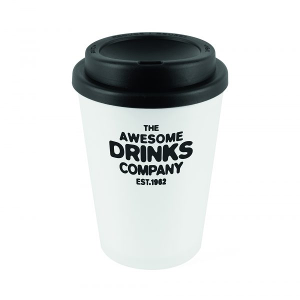330ml double walled, PP plastic white frosted take out style coffee mug with coloured plastic screw top lid with sipper. BPA & PVC Free.