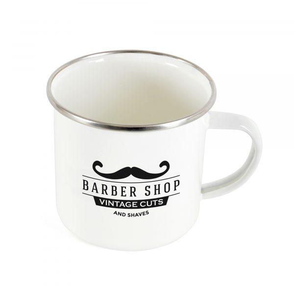 350ml single walled, carbon steel and enamel white mug. BPA & PVC free.