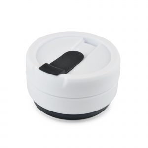 355ml single walled, collapsible cup with black silicone body, white PP plastic heat sleeve, trim and secure screw top lid with sipper. BPA & PVC free.