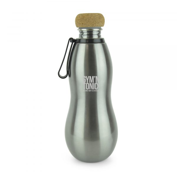 690ml single walled stainless steel bottle with PP plastic and cork screw on lid. Hourglass curve design for easy grip with black plastic and silicone carry strap attachment. BPA & PVC free. Available in gun metal.