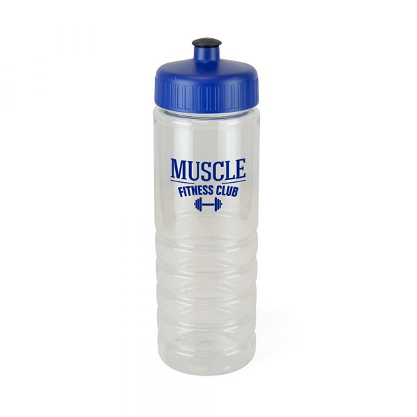 725ml single walled, translucent, PET plastic drinks bottle with secure coloured push/pull screw PP plastic lid with a black TPE sipper piece. BPA & PVC free. Available in blue, red and white.