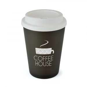 350ml double walled, coloured, PP plastic frosted take out mug with a white plastic screw top lid with sipper. Microwave safe. BPA & PVC free. Available in 6 colours.
